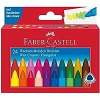 Faber-Castell 120024 Dreikant-Wachsmalkreide, 24er Kartonetui