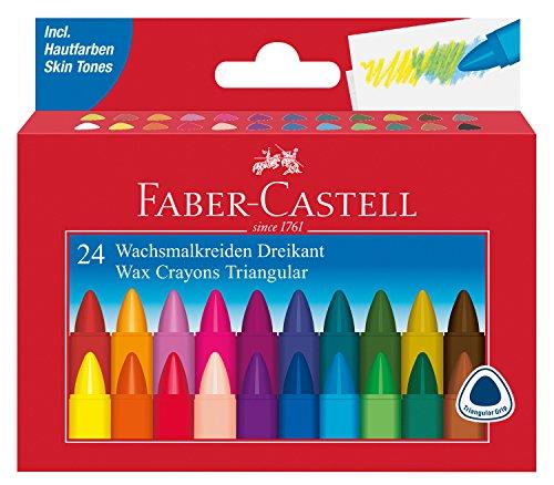 Faber-Castell AR-120024–Triangular Cera 24Veces Tiza Estuche de cartón