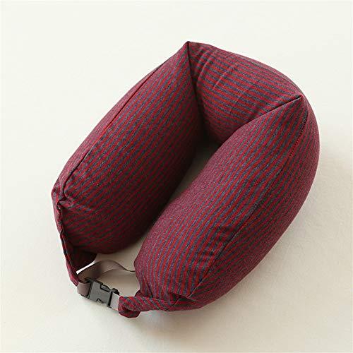 ZREED U-Typ Comfort Neck Support Cushion (Reisen, Fernsehen, Lesen) Für Home-Office-Reisen (Color : Reddish Black, Size : 15.5x65cm)