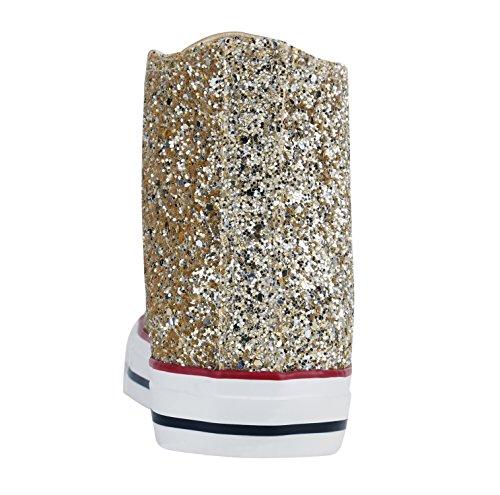 Damen Sneakers High Freizeit Glitzer Turnschuh Sportliche Schuhe Gold Glitzer