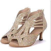 Onfly New Souliers latins féminins Paillettes scintillantes Sandale Chaussures de salle de bal/Performance de talon/professionnel strass/paillettes eu size (Couleur : UNE, Taille : 35)