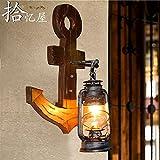 BESPD Mediterrane American Retro Creative Boutique Anker Massivholz Diffuse Wandleuchten Korridor Gang Wohnzimmer Schlafzimmer Bett Lampen