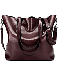 Mynos Women Top Handle Satchel Handbags Shoulder Bag Ladies Purse Messenger Tote Bag (Dark Red)