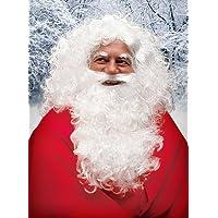 MW - Accessori per travestimento da Babbo Natale, kit composto da barba, parrucca e sopracciglia