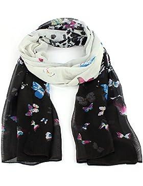 FAMILIZO 1PC gasa de las mujeres de la mariposa de la bufanda del silenciador suave