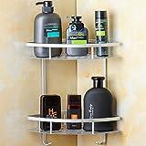 Befestigen Ohne Bohren Eckregal, Hawsam 2 Etagen Rostfrei Aluminiumlegierung Bad Duschablage für Shampoo Test