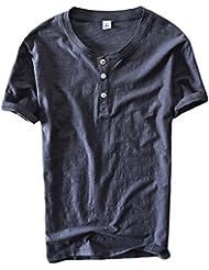 Insun Homme Henley Shirt en Coton Manches courtes Col rond Tops T-shirt