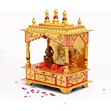Handpainted Wooden Hand Painted Mandir Golden Temple for Home