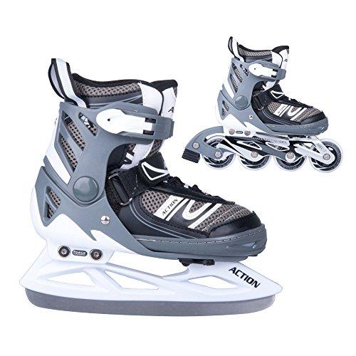 2in1 Schlittschuhe Inliner Tifero ABEC5 schwarz grau Gr. 31-34, 35-38, 39-42 verstellbare Skates