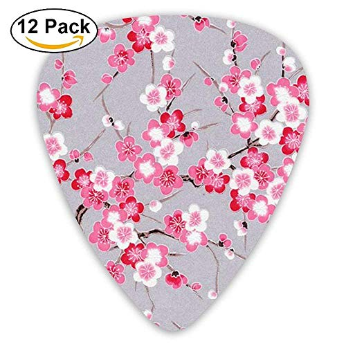 Heavy Pink Plum Blossom Chinese Celluloid Guitar Picks Unisex 12 Packs Basso Blossom