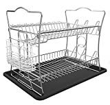 ESYLIFE 2 Tier Dish Drainer with Tray Dish Drying Rack with Utensil Holder
