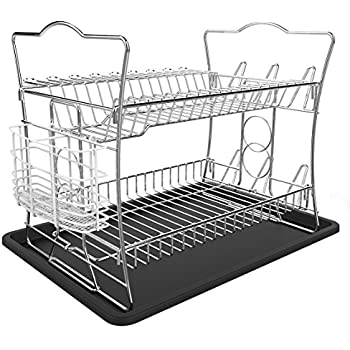 ESYLIFE 2 Tier Dish Drainer with Tray Dish Drying Rack with Utensil Holder Chrome Finished  sc 1 st  Amazon UK & ESYLIFE 2 Tier Dish Drainer with Tray Dish Drying Rack with Utensil ...