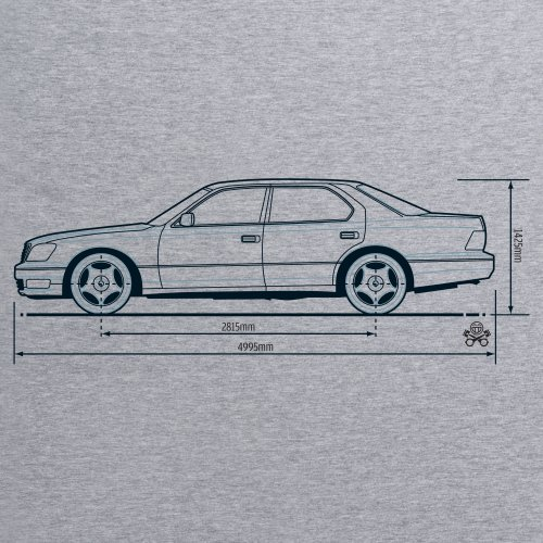 PistonHeads LS Luxury Sedan T-Shirt, Herren Grau Meliert