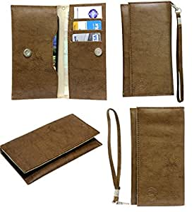 Jo Jo A5 G3 Leather Wallet Universal Pouch Cover Case For Micromax Canvas Fire A104 Light Brown