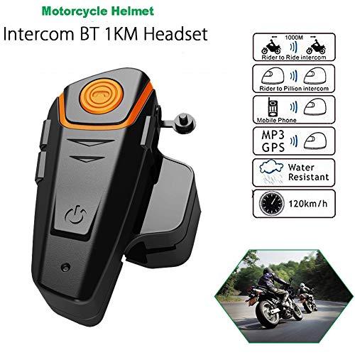 LUCASY Motorrad-Helm Intercom Headset Wireless Bluetooth Interphone mit wasserdichtem IPX6 mit 1000m, GPS, FM Radio, MP3, Hand Free, Connect bis zu 3 Riders,1 3 Hands Free-headset
