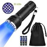 SlowTon UV Linternas 21 LED Ultravioleta Detectar Linterna luz Negra Linterna Linterna lámpara de inspección con Caja para Mascota Perro Gato orina, Alfombra Manchas, escorpión detección