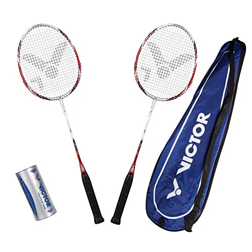 VICTOR Badminton Set, 2x Atomos 500 / Racketbag / 3x Nylonball - Silber/Blau