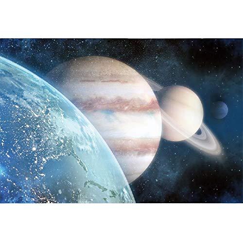 YongFoto 2,2x1,5m Vinile Fondale Foto 3D Pianeti Stelle galassie Spazio meraviglie Sfondo fotografico compleanno Fotografia Sfondi per foto Partito Studio Puntelli carta da parati