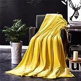 TPulling Gewebte Solide Decke 100 * 140CM Gestrickte Dicke Wolle Sperrige Stricken Decke Bettwäsche Quilt Spielen Decke (Gelb)