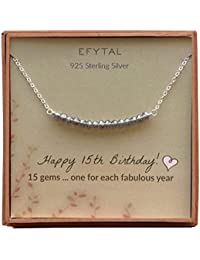 295b9bb979ca EFYTAL - Collar de Plata de Ley con 15 Cuentas para niñas de 15 años