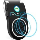 Aigoss Vivavoce Bluetooth Car Kit per Chiamate Viva Voce GPS e Musica Supporto per Aletta Parasole, con Siri Assistente Comandi Vocali di Google Altoparlante