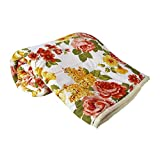 #9: Clasiko Double Bed Comforter Orange Flowers, Fabric- Micro Cotton, Size - 84x84 inches, Color Fastness Guarantee, 250 GSM