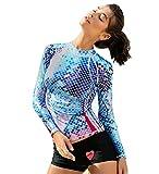 Fortuning's JDS UV-Sonnenschutz Schwimmen Shirt Digitaldruck Bademode Rashguard für Frauen