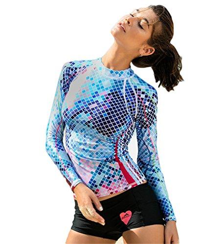 Fortuning's JDS® UV-Sonnenschutz Schwimmen Shirt Digitaldruck Bademode Rashguard für Frauen
