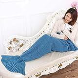 Cola de sirena yowao mantas para adultos todas las estaciones cálido pies acogedor salón cama manta 200x 95cm (78x 37pulgadas) (lago azul), azul marino, 78 x 37inch