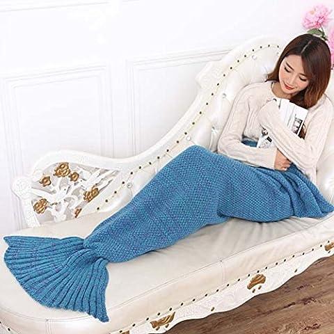 Sirena coda coperta da okayshop, caldo divano salotto maglia poliestere Coperta, Sacco a pelo per adulti 190x 90cm & # xFF08; 190x 89,9cm) blu