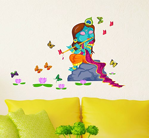 Decal Design ' Lord Krishna with Flute in Butterfly Background Wall Sticker' (PVC Vinyl, 50x70cm, Multicolor)  available at amazon for Rs.199