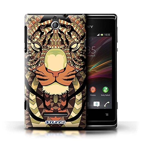 Kobalt® Imprimé Etui / Coque pour Sony Xperia E / Singe-Sépia conception / Série Motif Animaux Aztec Tigre-Sépia