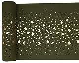 Tisch-Läufer / Tisch-Decke Metallic Stars in grün Oliv & Gold / Tisch-Dekoration / Tisch-Band / Weihnachten, Advent, Geburtstag, Silvester & Hochzeit (1 Rolle = 3 Meter)