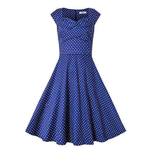 Babyonline Damen Vintage Kleider Rockabilly Kleider Abendkleider Cocktaikleider Knielang S-4XL Blau