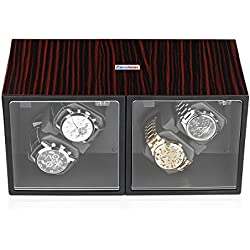 Excelvan Automatic Watch Winder Box Piano Lacquer Wood Shell Rotation 4+0 Storage Display Case Brown red