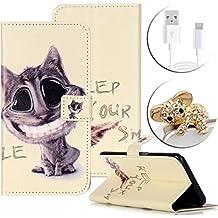 Vandot 3 in1 Ranura de la Tarjeta PU Cuero Funda para Sony Xperia M4 Aqua Wallet Case Libro Flip Cover + Cable de Datos USB + Antipolvo - Sonrisa de Gato Pattern