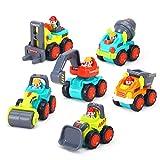 GoStock Kunststoff Spielzeugauto, 6 Baufahrzeuge in Einem Set LKW Spielzeug für Kinder ab 18 Monate - Bulldozer, Zementmischer, Kipper, Gabelstapler, Bagger und Straßenwalze (Color 2)
