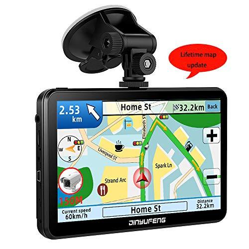JinYuFeng GPS Voiture,2019 Latest GPS 7 Pouces écran Tactile Multi-Langue Intelligent Voice Play,Europe 52 Carte Pays Mise à Jour Utilisation Gratuite dans Voiture et Camio