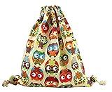 Lumanuby 1 Stück Turnbeutel Mode Beutel Praktisch Drawstring Bag Durable Canvas Material Rucksack Mode Attraktiver Druck Kordelzug Tasche Größe: 34*41cm Eule Bild