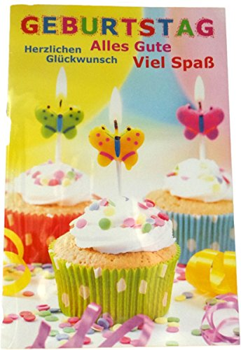 Glückwunschkarte Zum Geburtstag - Alles Gute - Viel Spaß - Kuchen Kerze Schmetterling - Mehrfarbig - mit Briefumschlag
