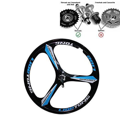 JARONOON MTB Felge 24/26 Zoll Mountainbike Räder 3 Speichen Magnesium Aluminiumlegierung Fahrradfelgen Lager Typ Unterstützung Schnellspanner (Schwarz Blau, 26 Zoll)
