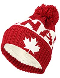5419b7600d3 WITHMOONS Knit US Canada Flag Union Jack Pom Beanie Hat JZP0027