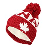 WITHMOONS Knit US Canada Flag Union Jack Pom Beanie Hat JZP0027 (Red)