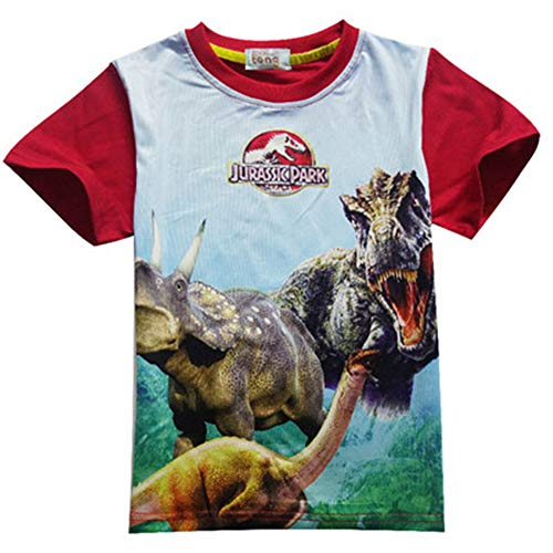 ys Clothes Jurassic World Short Sleeve Kids Summer Dinosaur t Shirt Clothes Baby Boys Clothing 3-12Y red 6T ()