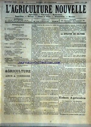 AGRICULTURE NOUVELLE (L') [No 163] du 02/06/1894 - AGRICULTURE PAR DEPERRIERE - BLANCHARD - MARSALS -TROUDE - LARVARON - VITICULTURE PAR LARVARON - BATTANCHON - HORTICULTURE PAR COUTURIER - NANOT - MAGNIEN - PISCICULTURE PA ROY