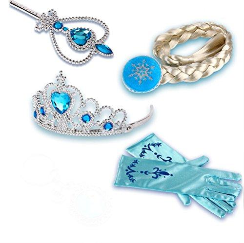 Damelie Queen Elsa Prinzessin Anna Zauberstab, Krone, Strass, Tiaras & Handschuh Mädchen, Geschenk-Set Prinzessin Karneval Verkleidung Party Cosplay Mädchen Handschuhe