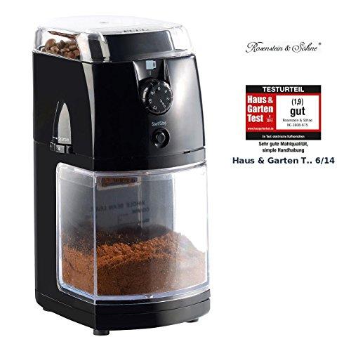Rosenstein & Söhne Kaffeemuehle: Elektrische Kaffeemühle mit hochwertigem Scheibenmahlwerk (Coffee Grinder)