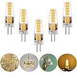Lianqi G4 3W 10LED 2835SMD Lampen, AC-DC 12V, 300LM, Ersatz für 30W Halogenlampen, LED Leuchtmittel 360° Abstrahlwinkel, LED Birnen Warmweiß 3000K, 5er Pack
