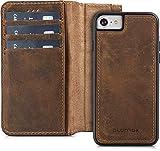 Blumax Echt Ledertasche abnehmbare magnetische Lederhülle kompatibel mit iPhone 8 iPhone 7 & iPhone 6 6s 4,7 Zoll mit Kartenfach Handytasche antik Vintage dunkel Braun