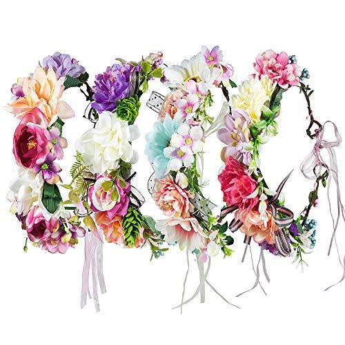 Stirnband Blumen, ZWOOS 4 Stück Stirnbänder Krone Haarband Kopfband Blume Haarbänder mit Elastischem Band für Hochzeit und Party (#14, große Größe) - Große Blume Stirnband